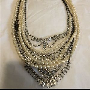 Vintage Gatsby pearl and rhinestone necklace